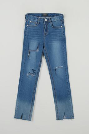 <b>[SAMPLE SALE] Denim pants embroidery teuim [7016]</b>
