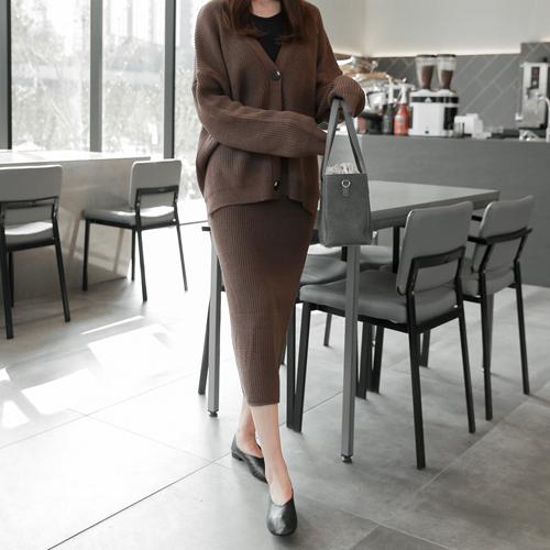 <b>[SET] Raw waffle cardigan + Midi skirt set</b>