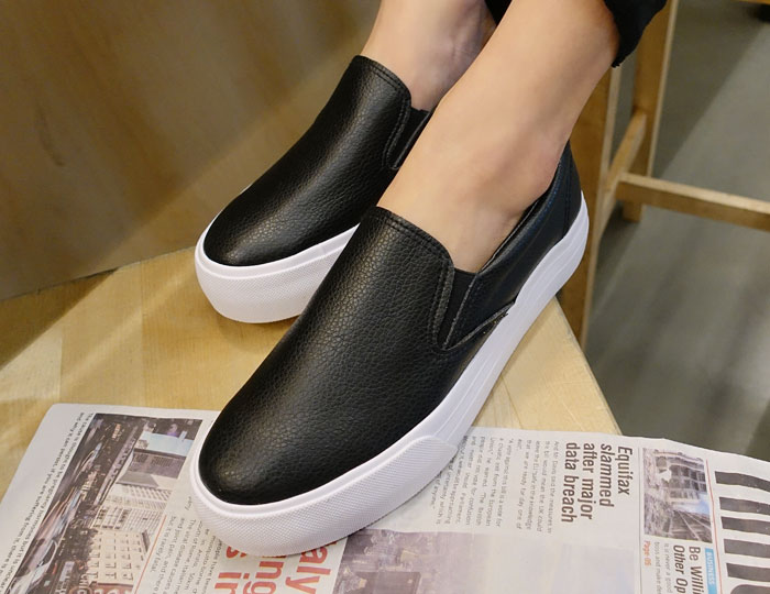 <b>Fur Leather Height increase Slip-on Shoes (3cm)</b>