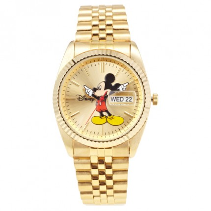 <b>Mickey large Gold Metal -Clock</b>
