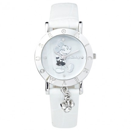 <b>Little Mickey White Leather-Clock</b>