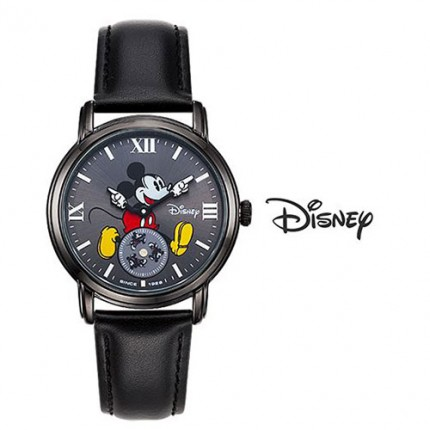 <b>All Black Mickey Leather-Clock</b>