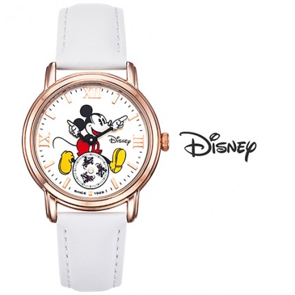 <b>White Mickey Leather-Clock</b>