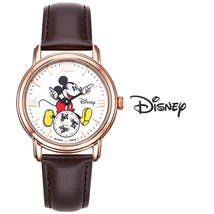 <b>Brown Mickey Leather-Clock</b>