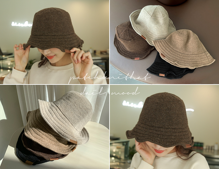 <b>Patch Wire Knit Bucket Hat</b>