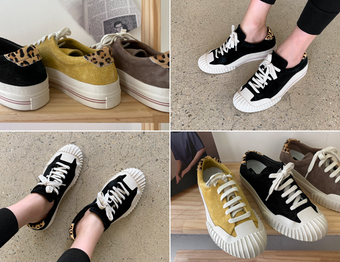 <b>Hopi color combination Suede Sneakers</b>